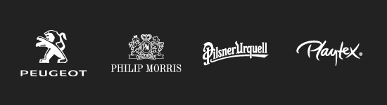 Client Philip Morris, Peugeot, Pilsner Urquell and Playtex