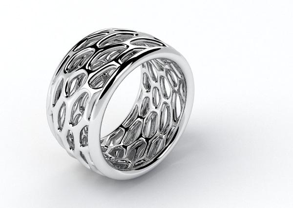 Exagon Jewel Design Rhinoceros Ring Organic Gold Silver