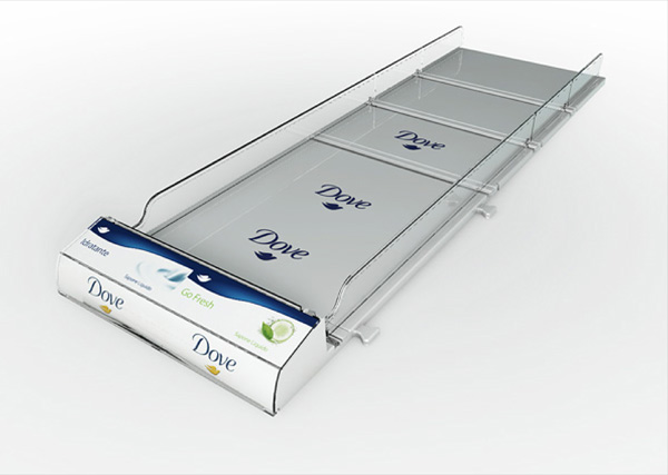 Shelf Tray Dove Unilever Exagon Design