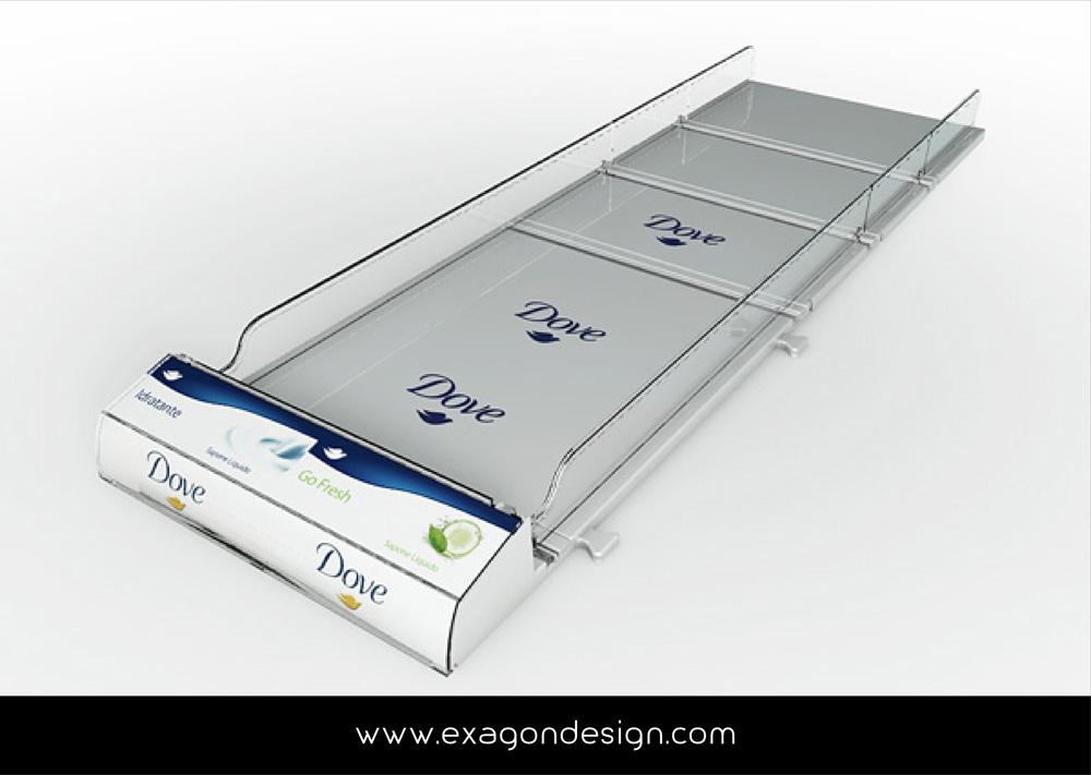 Shelf Tray Dove Unilever Exagon Design